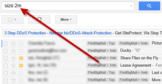 how to show mail size in gmail
